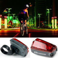 Cycling Bike Bicycle 5 LED Rear Tail Light 3 Modes Safety Lamp and 2 Laser Beam