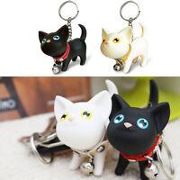 Black white cat kitty kitten keychain key ring chain wedding gift couple lovers