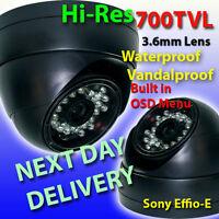 DOME METAL OUTDOOR WATERPROOF CCTV CAMERA CCD SONY EFFIO-E 700TVL + NIGHT VISION