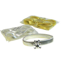 Ärmelhalter 2 Paare Teddy Anhänger  silber-  goldfarbig Stretch Armband Schmuck