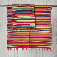 Fair Trade Handmade Indian Recycled Rag Rug Large 180 x 120cm (6ft x 4ft)
