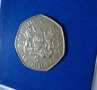 1985 Kenya 5 Shillings President Daniel Toroitich Arap Moi Coin in Display Case