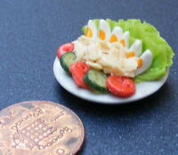 1:12 Egg Salad On A Ceramic Plate Dolls House Miniature Kitchen Food Accessory