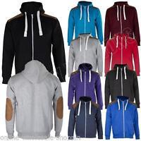 New Mens Suede Patch Fleece Zip Up Hoody Hoodie Sweatshirt Top Size S M L XL XXL