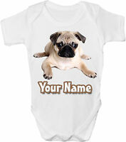 PUG DOG PUPPY PERSONALISED BABY VEST / GRO /BODYSUIT *GREAT GIFT & NAMED TOO *
