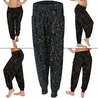 New Womens Ali Baba Black Animal Leopard Print Harem Trousers Pants Size S M L