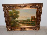 Quadro pittura ad olio su tela cornice legno foglia oro BAMBINI FINE ' 700