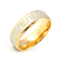 Unisex Mens Womens Gold & Silver 2-Tone 316L Stainless Steel Band Classic Rings