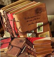 WO AU Retro Classic Vintage Leather Bound Blank Pages Journal Diary Notebook