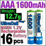 16 x AAA 1600mAh NIMH 1.2V Volt Rechargeable Battery HR03 LR03 3A Ultracell Blue