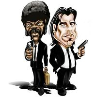 Mens T-Shirt, Pulp Fiction Caricature Ideal Birthday Gift Present
