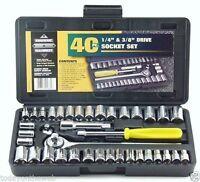 "New Standard SAE & Metric 40 Piece Socket 1/4'' & 3/8"" Drive Ratchet Wrench Set"