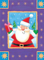 """Santa With Present - Dufex Foil Picture Print - size 4 3/8 x 5 3/4"""" Pack of 3"""