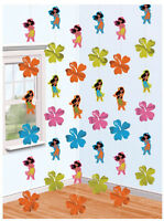 6 Hawaiian Hula Girl Strings Hanging Party Decorations FREE P&P