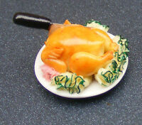 1:12 Scale Roast Chicken On A Ceramic Plate Dolls House Miniature Kitchen Food