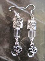 Ohm Aum Om Handcrafted Artisan Earrings Glass-Yoga Reiki Chakra Hippie Hindu