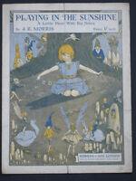 PLAYING IN THE SUNSHINE  1914 - Vintage sheet music J R MORRIS