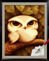 "Framed Acrylic Painting by Number kit 40x30cm (16x12"") Owl DIY PH5013"