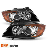 Fits Black 06-08 E90 4Dr 3-Series Dual CCFL Halo Amber Projector Headlights Pair