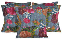 Indian Pillow Covers Kantha Floral Printed Cotton Sofa Cushion Covers Set 5pcs