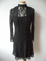 SEXY BLACK LACE HIGH NECK GOTHIC VINTAGE VICTORIAN GOVERNESS DRESS 6 8 10 12