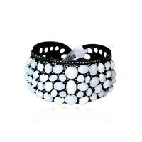 Pave Diamond Opal Designer Cuff Bracelet 925 Sterling Silver Handmade Jewelry