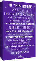 We Do Disney In This House Quote on CANVAS WALL ART Picture Print - PURPLE