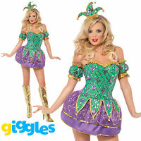 Harlequin Costume Womens Ladies Halloween Jester Clown Circus Fancy Dress Outfit