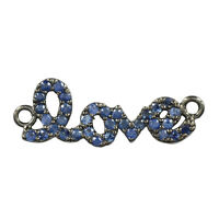 Love Connector Finding 925 Sterling Silver Pave Sapphire Designer Jewelry