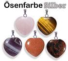 Pendentif coeur en pierre véritable-quartz rose, améthyste, oeil de tigre, etc.