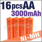 16 pcs AA 2A LR6 3000mAh 1.2V Ni-MH rechargeable battery Cell For Toy/RC orange
