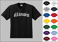 State of Illinois Old English Font Vintage Style Letters T-shirt