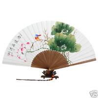 Fächer Handfächer Papier Lotus Bambus Wand Dekor Weiss
