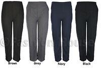 Ladies Elasticated Waist Trousers Sizes 8 10 12 14 16 18 20 22 24 26 Black Grey