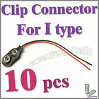 10 pcs I Type 9V 9 Volt Battery Snap On Clip Connector With Cable