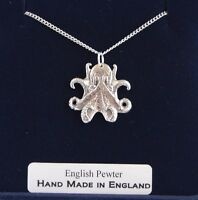 Octopus Necklace in Fine English Pewter, Hand Made and Gift Boxed