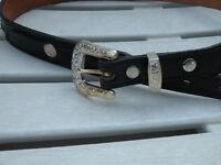 Dun Dee black leather belt  Texas 32 woven leather center 3D fits 30 - 34