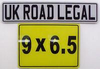 MOTORBIKE MOTORCYCLE NUMBER PLATE 9 X 6.5 ROAD LEGAL
