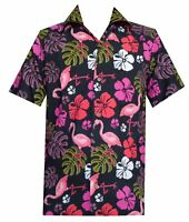 Hawaiian Shirt Mens Flamingo Leaf Print Beach Aloha Party Holiday Camp