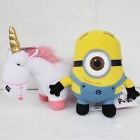 "2X Despicable Me Character Unicorn 9"" Minion Stuart 6"" Plush Toy Stuffed Animal"