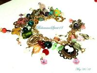 Vintage Charm BRACELET CAMEO Czech Glass Beads Natural Pearls Filigree Stamp Set