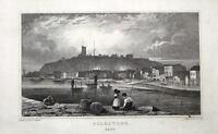 FOLKSTONE FISHING PORT,KENT Engraving Antique Print 1829