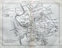 ANCIENT ROME, ITALY, STREET PLAN original antique map 1872