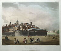 TOWER OF LONDON, ACKERMANN,MICROCOSM OF LONDON antique print 1808