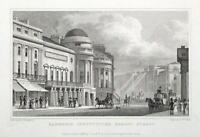 HARMONIC INSTITUTION, REGENT STREET, LONDON Original antique print 1828