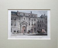 Original Print 1827 Antique Hand Coloured CITY OF LONDON,THREADNEEDLE STREET,