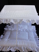 Pram Canopy and Quilt Set  to fit Silver Cross pram in white  Broderie Anglaise