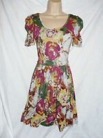 BNWT NEXT floral ladies tea day stretch tunic chic vintage dress SIZE 8 small