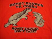 Honey Badger VS Cobra Don't Care Red Graphic Print funny T Shirt M