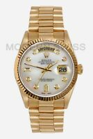 Rolex Mens Day Date President 18K Gold White MOP Diamond Dial Quickset 18038 2Y